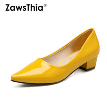 ZawsThia 2020 spring summer patent PU leather pointed toe square med heels dress shoes yellow black woman loafers slip on pumps