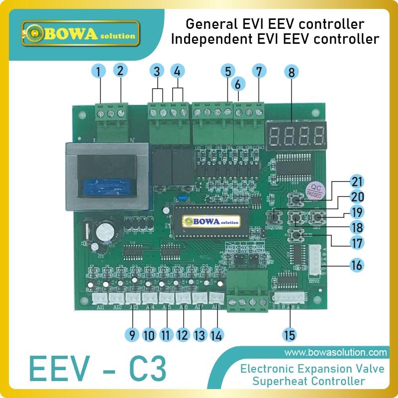 Полный и независимый контоллер для улучшенного впрыска пара(EVI) EEV для блоков теплового насоса источника воздуха в низкой температуре окружающей среды