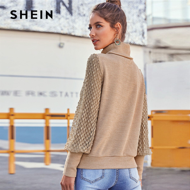 SHEIN Khaki Funnel Neck Contrast Lace Casual Sweater Women Tops 2020 Spring Fashion Bishop Sleeve Ladies Streetwear Sweaters 2