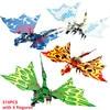 4Pcs/Set Ninja Dragon Knight Swordsman Model KAI JAY ZANE Figures Building Blocks Kids Toys Bricks Gift for Children Boys
