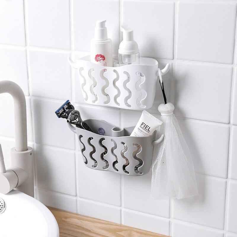 Suction Cup Faucet Drain Rack Sink Shelf Soap Sponge Organizer Bathroom Holder Sundries Kitchen Storage Basket For Home Storage