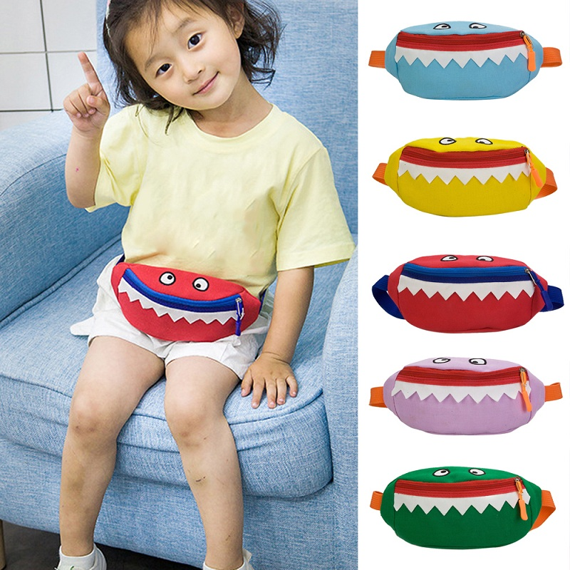 SHUJIN Cute Foldable Children Waist Packs Kid Casual Bag Cartoon Animal Shark Chest Boy Girl Money Waist Bags Belt Kawaii Bag