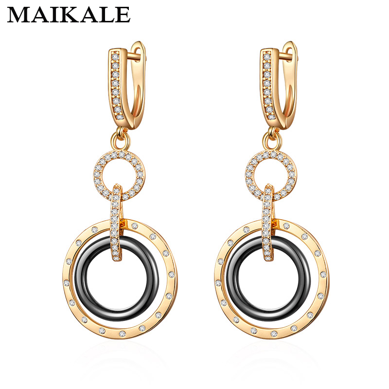 MAIKALE Trendy Ceramic Round Earrings Copper High Quality Cubic Zirconia Plated Gold Drop Earrings For Women For Gifts