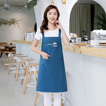 Apron kitchen waterproof oil-proof female male Korean version of fashion lovely Japanese cooking thin breathable work clothes