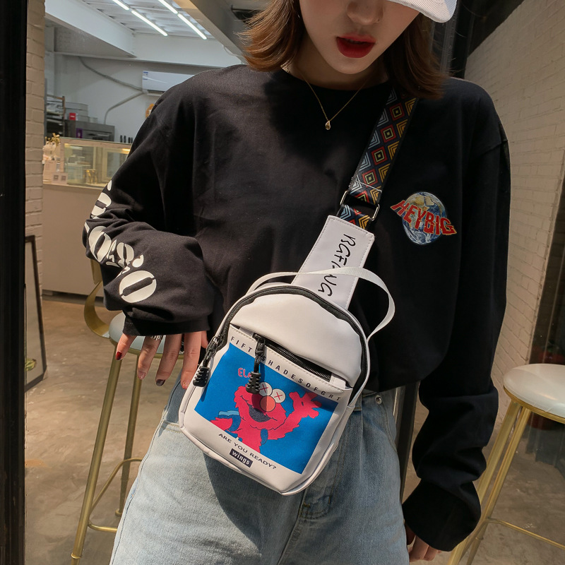 2019 New Style Chest Pack INS Super Fire Sesame Street Korean-style Versatile Printed Casual Single-shoulder Crossbody Bag