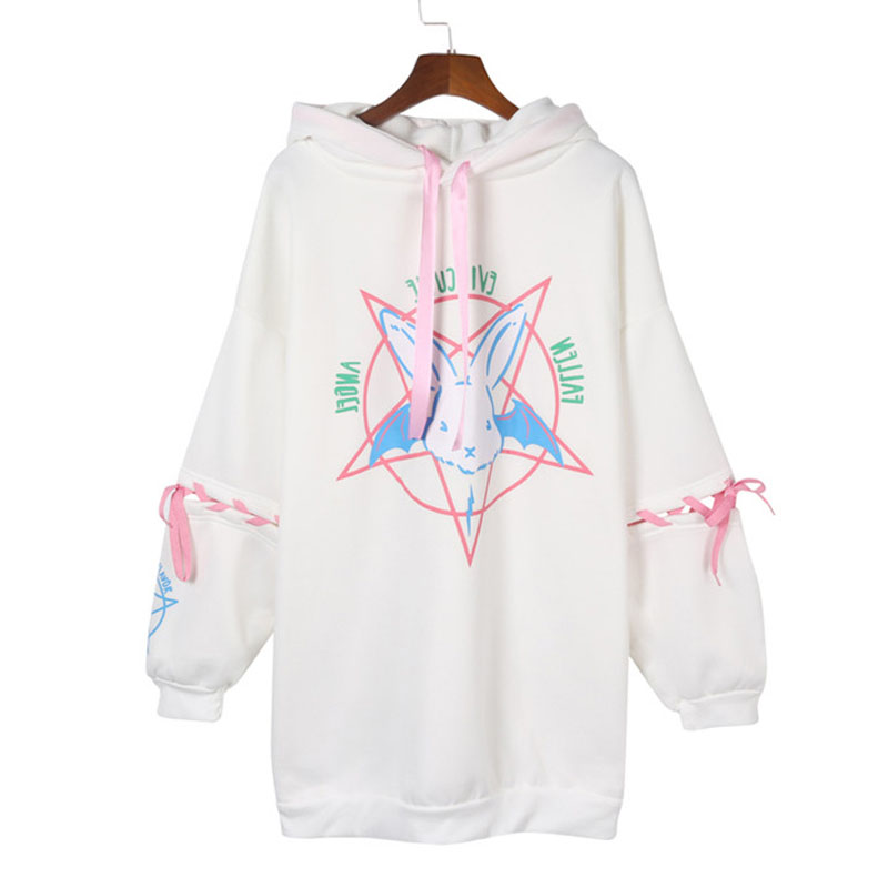 Harajuku Rabbit Pentagram Print Lace Up Women Fleece Streetwear Hoodies Gothic Punk Oversize Hooded Sweatshirt Pullover DG292
