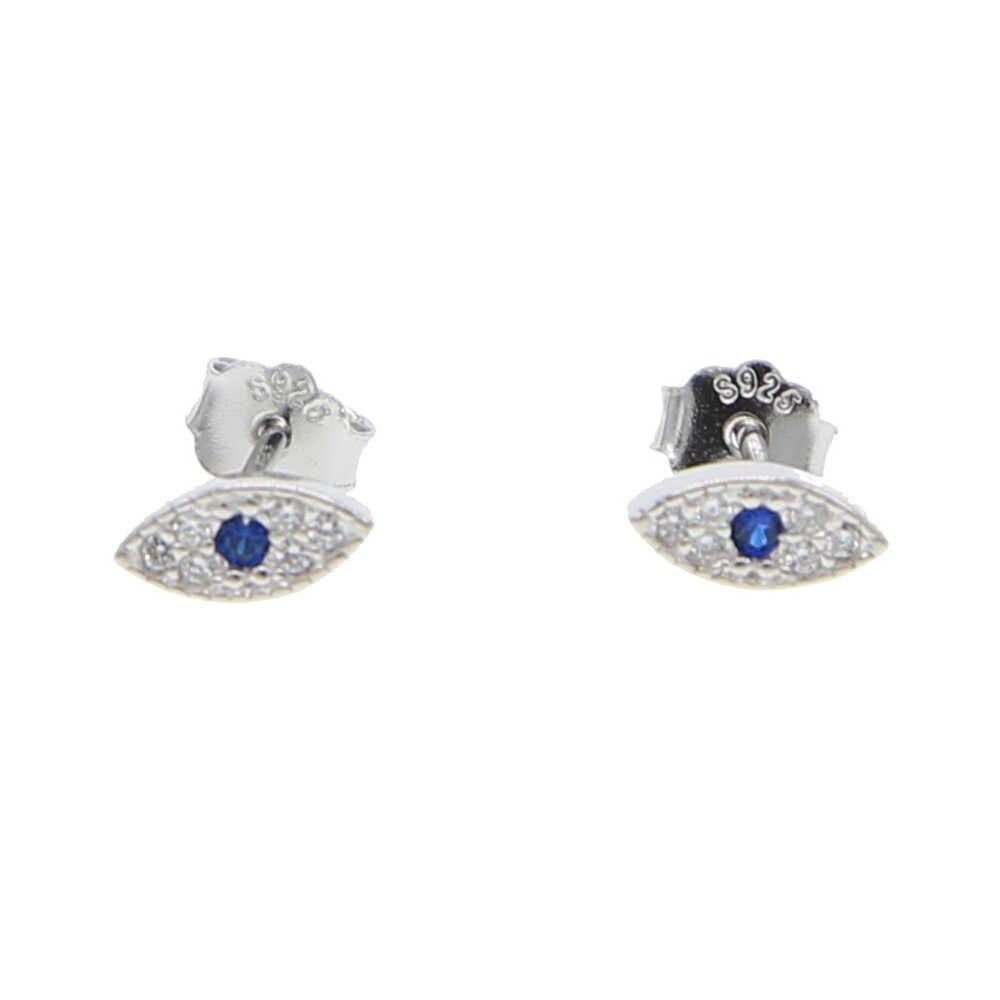 MINImalista evil eye pendiente de encanto stud 100% 925 plata real pavé azul cz mini pendiente de cuentas delicadas joyas delicadas