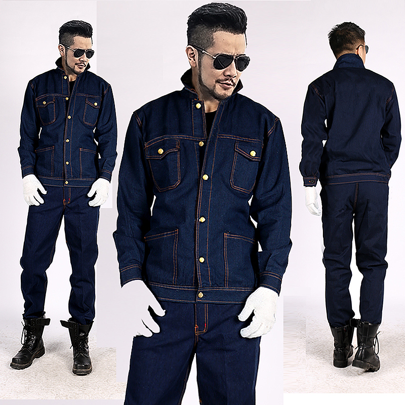 New Style Mens Denim Coveralls Workwear Workshop Uniforms Jacket Jeans Pants 2pcs Set Thick For Welder Worker Heat-proof M3