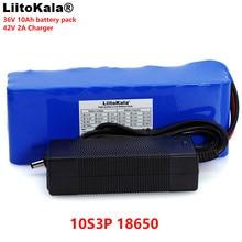 LiitoKala Paquete de batería recargable, 36V, 10Ah, 10S3P, 18650, bicicletas modificadas, vehículo eléctrico, baterías li lon + cargador 2A