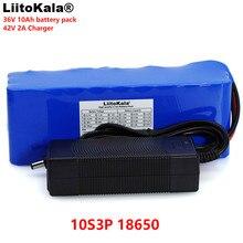 Liitokala 36v 10Ah 10S3P 18650充電式バッテリーパック、修正された自転車、電気自動車リチウム経度電池 + 2A充電器