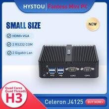 Escritório sem ventilador de baixa potência mini pc intel celeron j4105 barebone 2 * lan hd vga 2 * rs232 servidor htpc protable mini pci e wifi