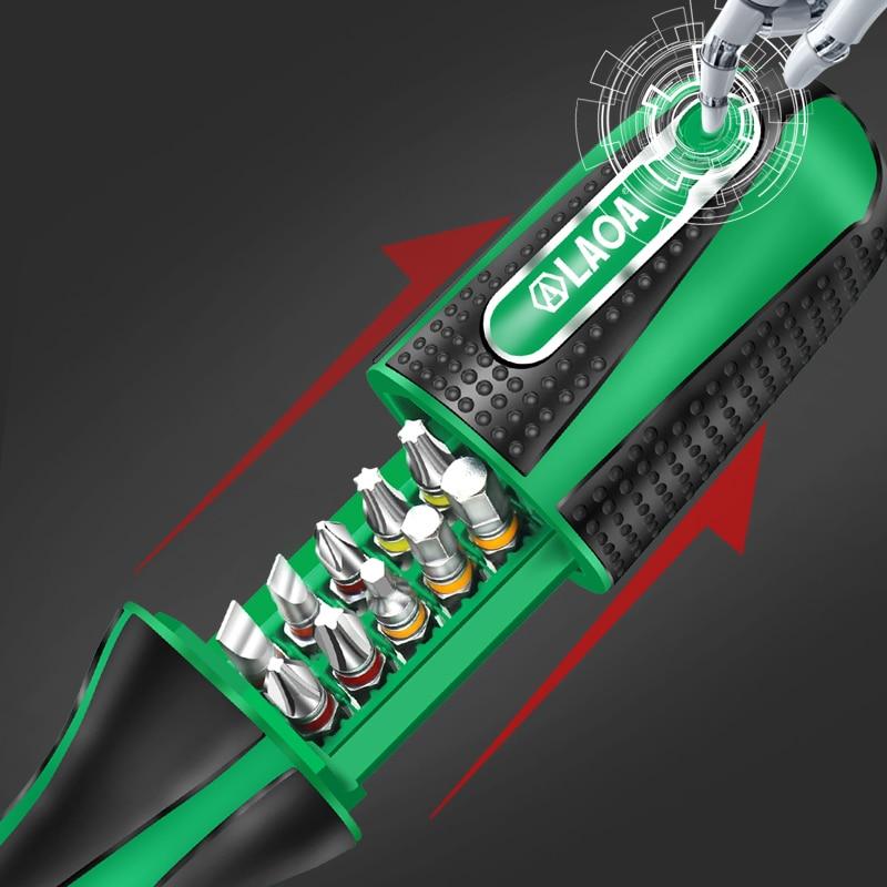 LAOA Tools Screwdriver With Kit 20N Rod S2 Bits In Driver Ratchet 10 1 Screw Aluminum 48T M Set 10pcs