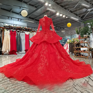 Image 2 - LS0993 red high neck brides wedding party dresses long tulle sleeve lace up back beauty cheap evening dress real price as photos