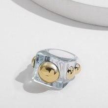 Moda przezroczysty żywica pierścień akrylowy dla kobiet Trendy duże geometryczne kwadratowe okrągłe nieregularne Chunky Rings biżuteria na palce prezent