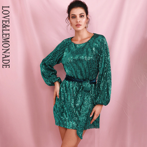 Image 2 - LOVE&LEMONADE Green Loose Lantern Sleeve Pleated Sequins Mini Dress (With Belt) LM82165