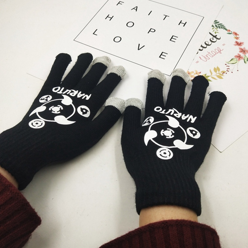 New Fashion Winter Men Knitted Gloves Anime Naruto Touch Screen High Quality Male Mitten Thicken Warm Gloves Autumn