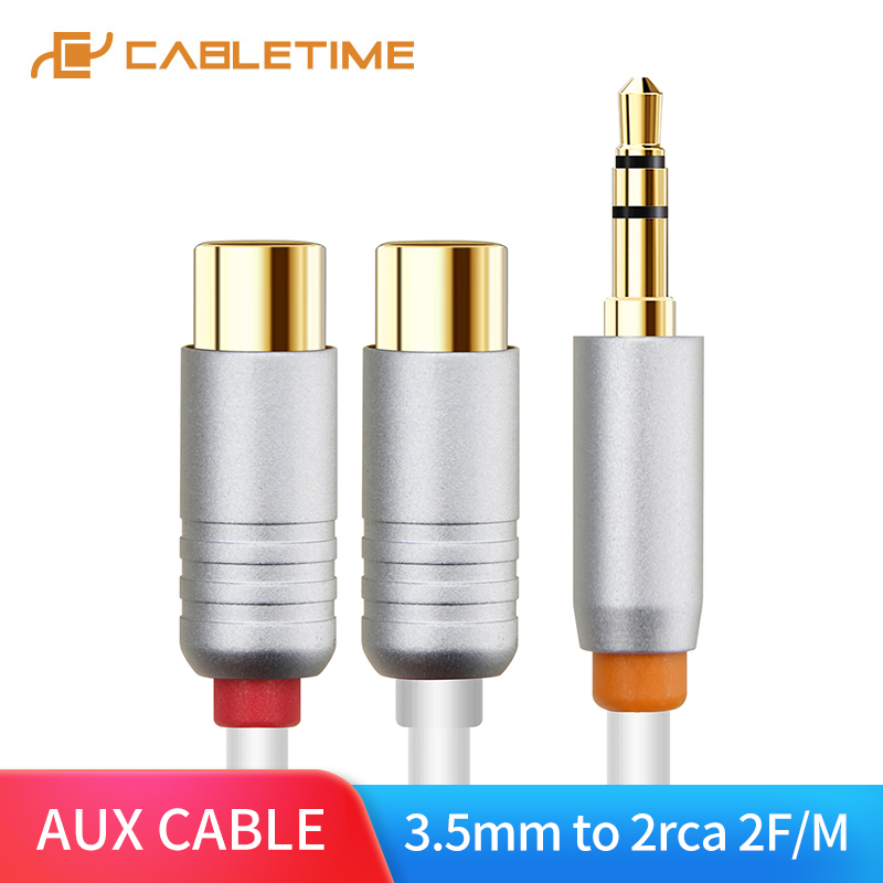 CABLETIME Male To Female 2 RCA To 3.5mm Jack Audio Cable RCA Audio Splitter Cable For Stereo Amplifier Home Theater DVD C100