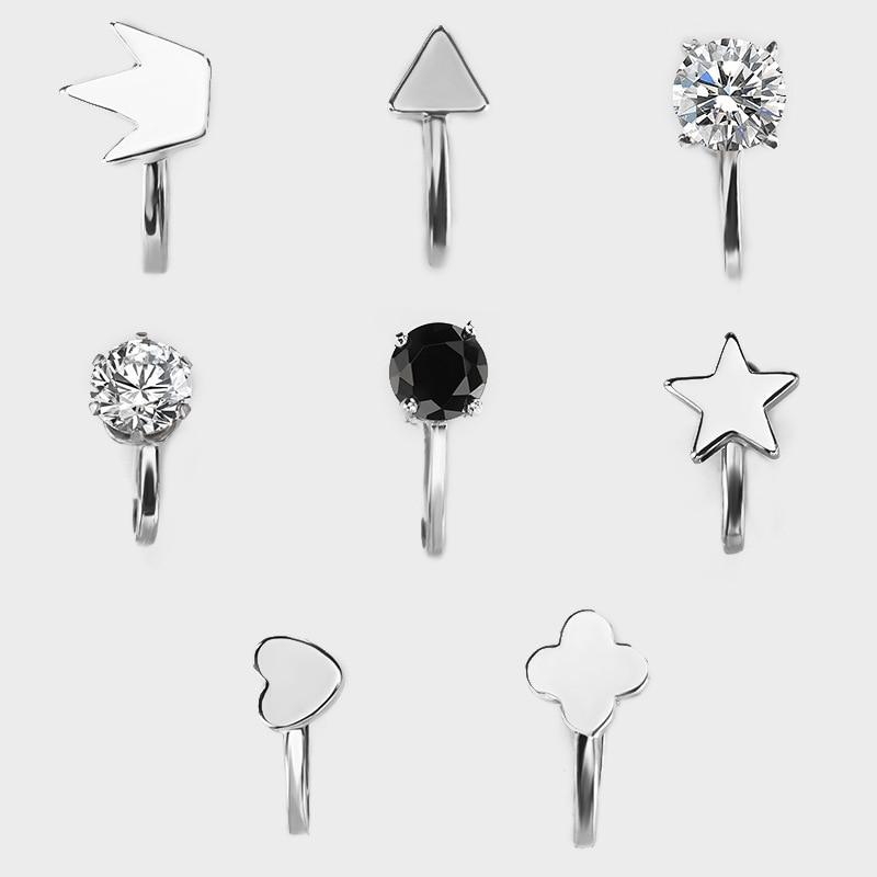Simple Heart-shaped Crown Star Zircon Earrings Clip Earless Ear Clip Ear Buckle Gold Silver Color Earrings Fashion Accessories