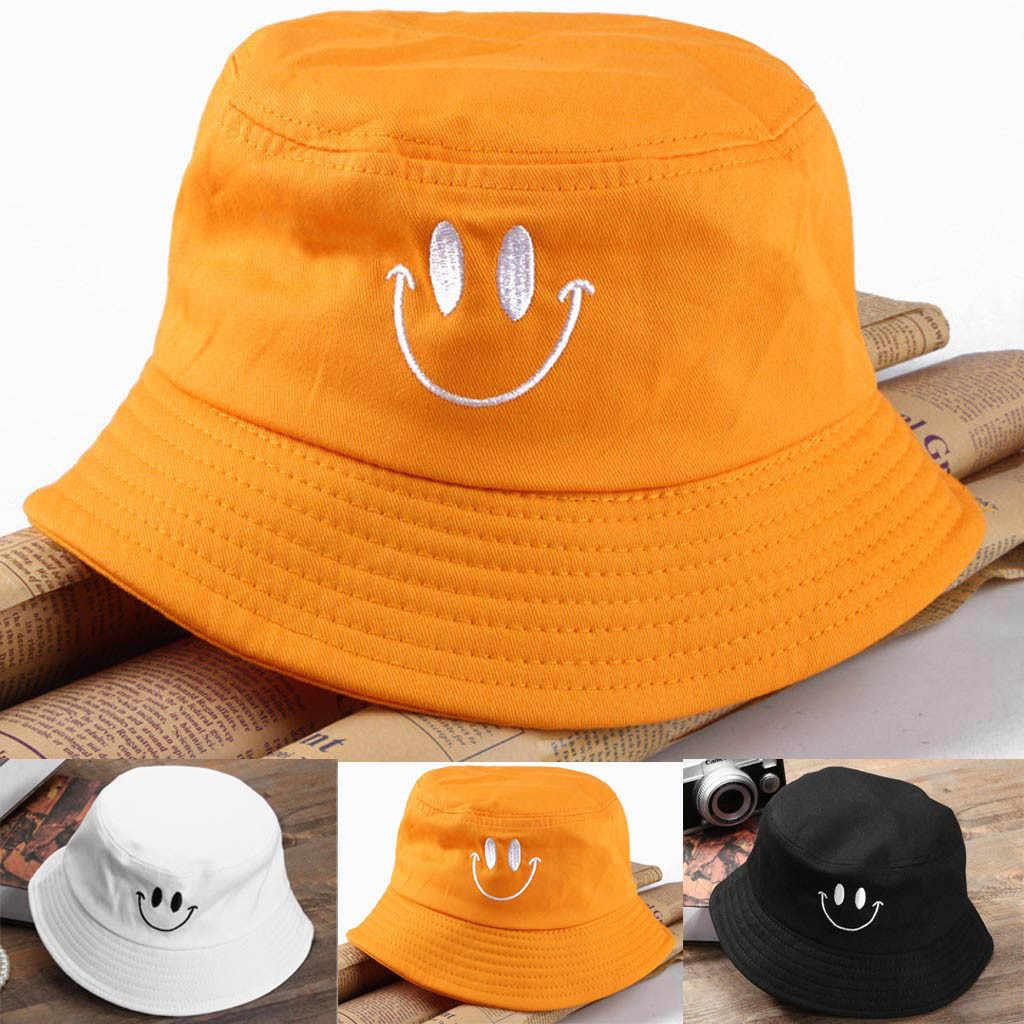 Komik balıkçı şapka avcılık balıkçılık kova şapka kap güzel gülümseme yüz güneş koruyucu pamuk balıkçı şapka Unisex # p8