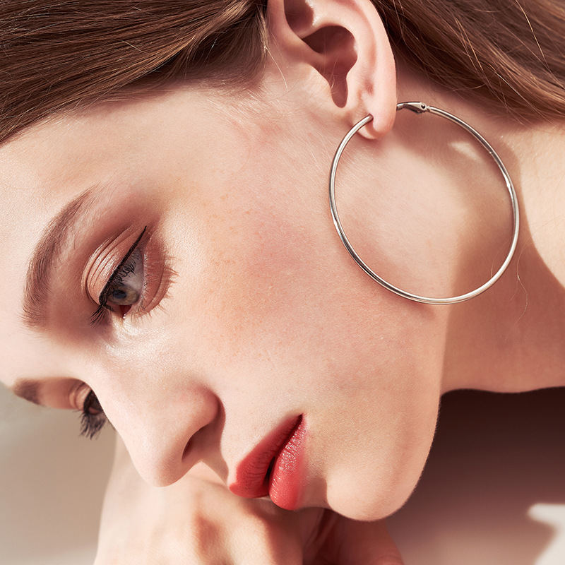 Punk Big Size Earrings Couple Style Fashion Feast Exaggerated Gold Silver Black Big Circle Smooth Earrings Women's Jewelry