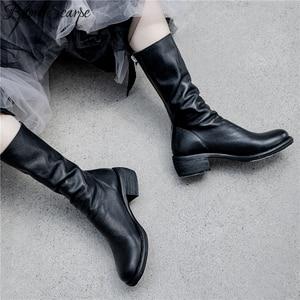 Image 2 - Buono Scarpe Genuine Leather Pleated Fashion Boots Brand Designed Zipper Boots Chunky Botas Fenimina Leather Shoes Zapatos Mujer