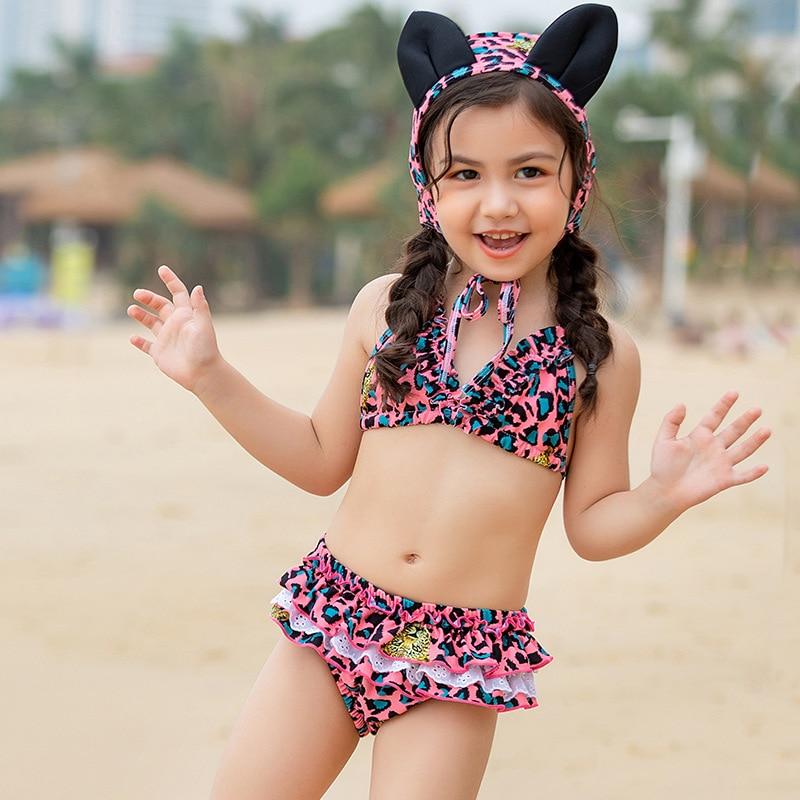 2019 KID'S Swimwear Girls Princess Cute Bikini Children Baby Split Type Swimwear Hot Springs Leopord Pattern Swimming