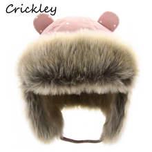 Kids Thickened Fur Hats Winter Windproof Keep Warm Hat for Girls Boys Cute Little Ear Ushanka Cap Children 0-4 Years Bomber Cap