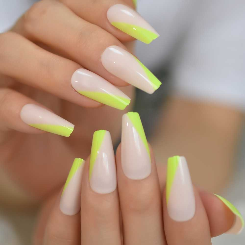 Neon Green French Press On False Nails Extra Long Coffin Ballerina Shape Uv Gel Nude Lignt Pink Fingersnails Free Adhesive Tapes Aliexpress