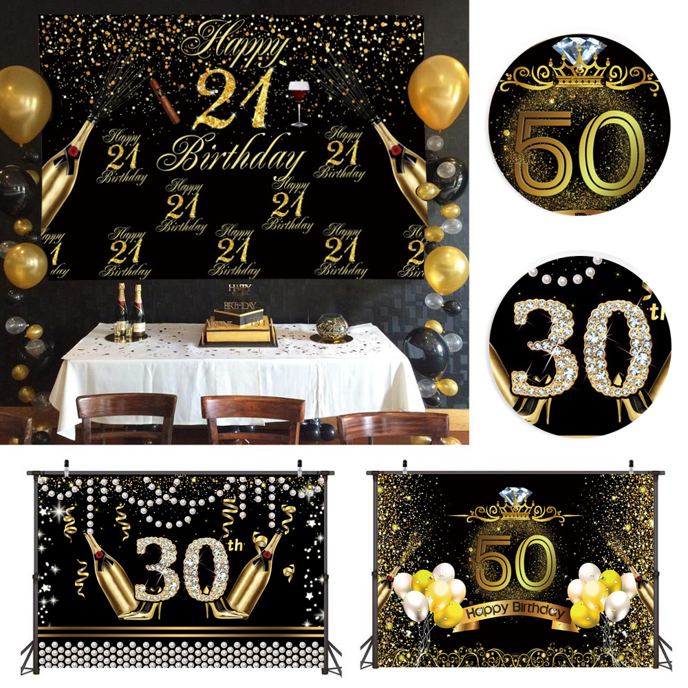 120*80cm 21 30 40 <font><b>50</b></font> 60 Years Old Birthday Party Photo Booth Background Tapestry Props Balloons Disposable Tableware Supplies image