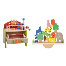 Toys Building-Blocks Multifunctional-Tool Wooden with Seesaw Balance Animal Baby Cute