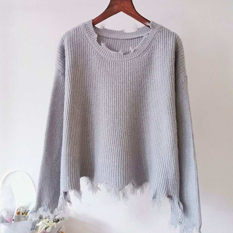 Korean Style Women Knitted Sweater 2019 Autumn Winter Casual Asymmetrical Tassel Sweater Pullover Knitwear Pink White Blue T348 in Pullovers from Women 39 s Clothing