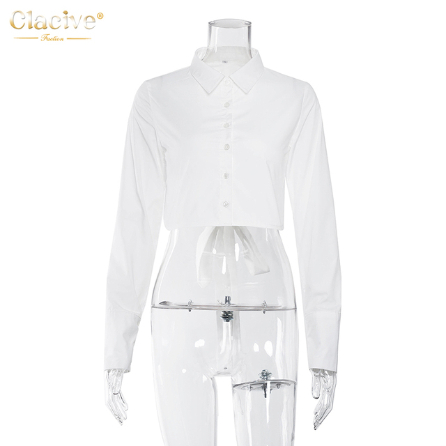 Clacive Fashion White Turn Down Collar Women'S Shirt Casual Long Sleeve Lace-Up Ladies Blouses Elegant Backless Female Shirts 4
