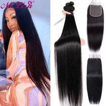 Mechones de pelo liso de 30 pulgadas con cierre, pelo brasileño tejido, 3 / 4 mechones con cierre, extensión de cabello humano