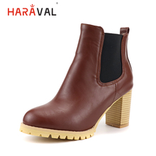 HARAVAL Fashion Classic Woman Ankle Boot High Quality Round Toe Sexy Heels Shoes Elegant Warm Solid Basic Slip-on B260
