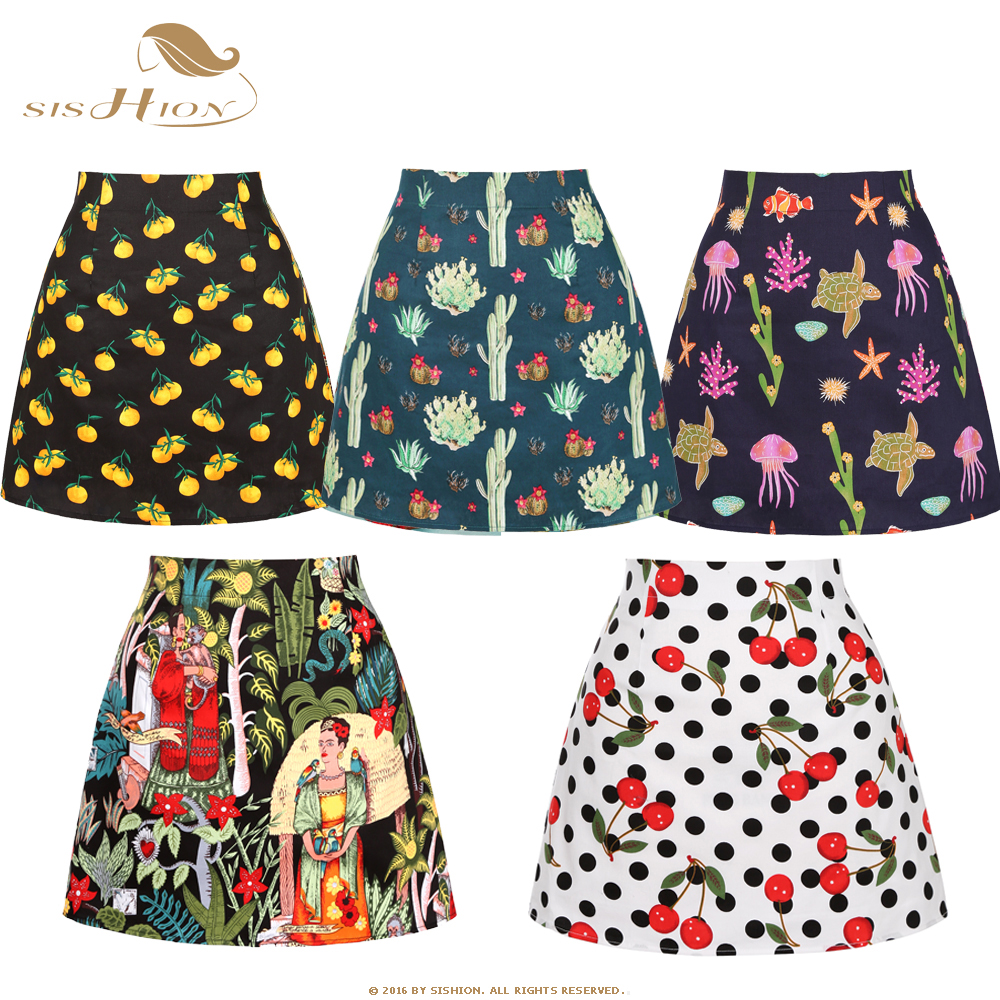 SISHION Dropshipping Floral Toucan Print Mini Skirt SS0008 Cotton Vintage Slim Retro Sexy Skirts Womens Ladies Women Skirt title=
