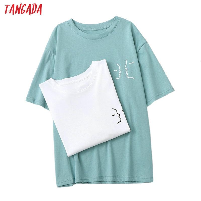 Tangada Women Print Loose Cotton 2020 T Shirt Short Sleeve Summer Ladies Casual Tee Shirt Street Wear Top BAO9