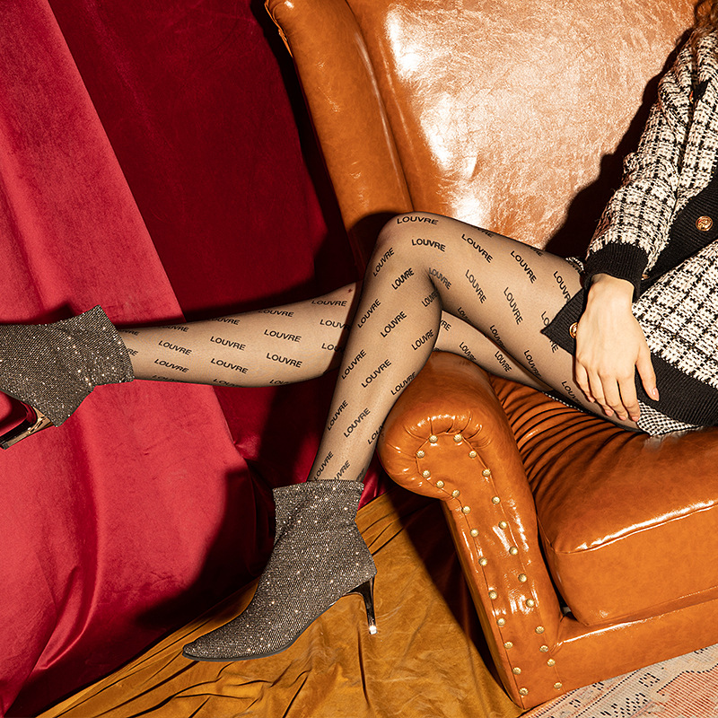 Women Black Printed Letter Tights Louvre Transparent Pantyhose Spring Autumn Sheer Footed Pantyhose Silk Party Club Stockings