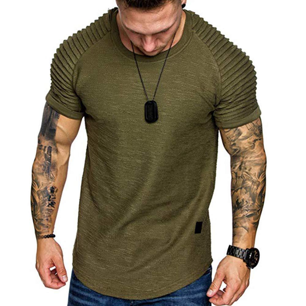 Men's Causal Crewneck Applique Solid Color Layer Raglan Sleeves T-Shirt Casual  Short