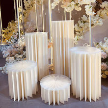 Wedding Props Pearl Origami Cylindrical Dessert Table Folding Roman Column Table Decoration Wedding Road Guide Window Props