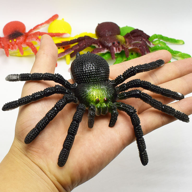 Colorful Simulation Big Spider Insect Model Toy Prank Tricky Scary Toy Halloween Props Christmas Toy Gift Elastic Realistic Toy