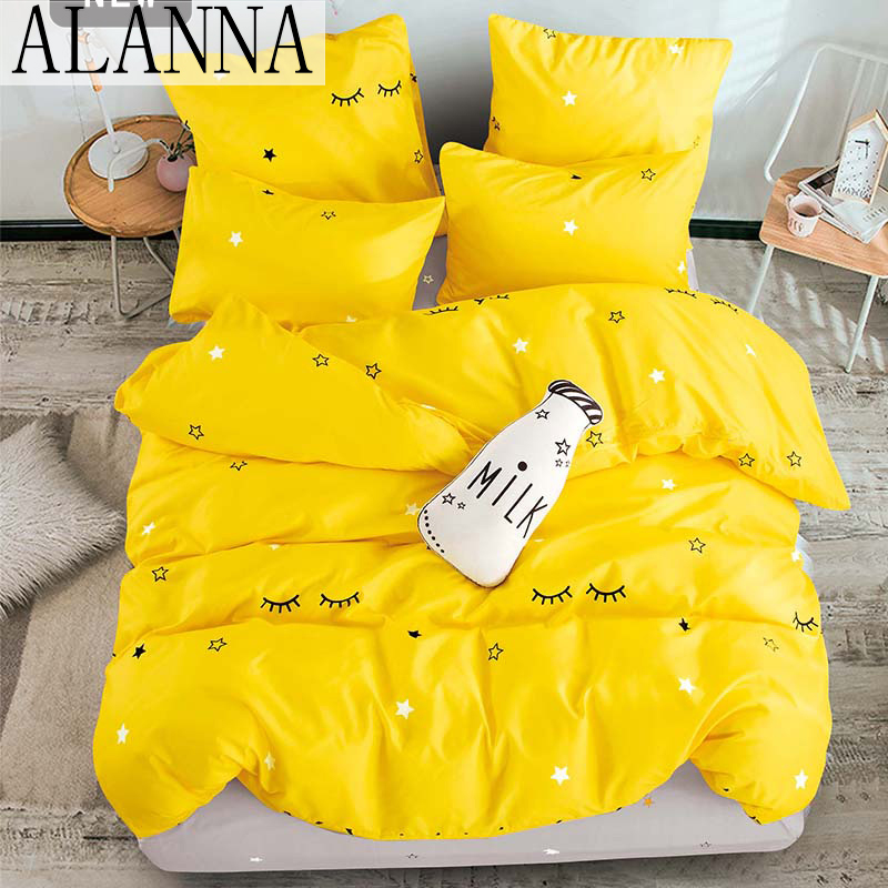 Alanna T-ALL Printed Solid bedding sets  Home Bedding Set 4-7pcs High Quality Lovely Pattern with Star tree flower 1