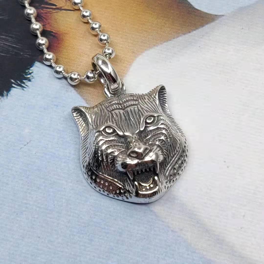 S925 pendentif élégant tête de tigre rugissant en argent