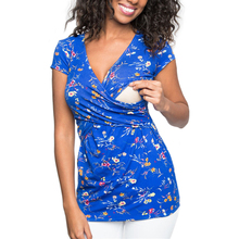 Womens Maternity Pregnancy Clothes Leisure Breastfeeding Tee Short Sleeve Floral Tops Nusring