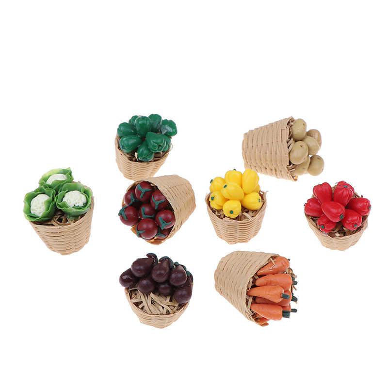 1:12 evcilik minyatür gıda oyuncak sebze bambu sepet minyatür aksesuarları