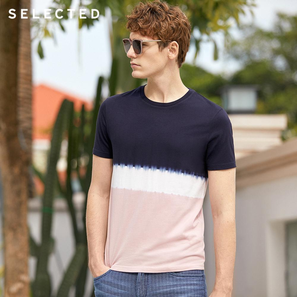 SELECTED 2019 Men's Pure Cotton Gradient Short-sleeved T-shirt S|419201619