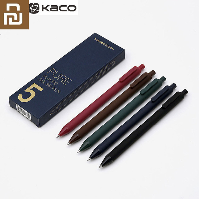 5 adet/paket Youpin KACO 0.5mm işareti kalem imza kalem pürüzsüz mürekkep yazma dayanıklı İmza 5 renk öğrenci okul/Ofis çalışanı