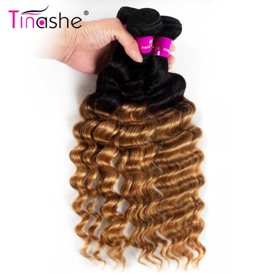 Tinashe włosy luźne głęboka fala wiązki 1B 27 miód blondynka Ombre wiązki Remy brazylijski ludzki włos wyplata kolorowe 3 zestawy