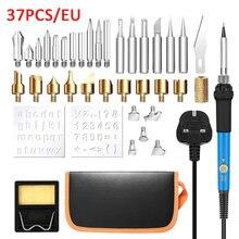Temperatura ajustável ferro de solda elétrica 220v 60w plugue da ue solda estação retrabalho calor lápis 5 pçs dicas ferramenta reparo