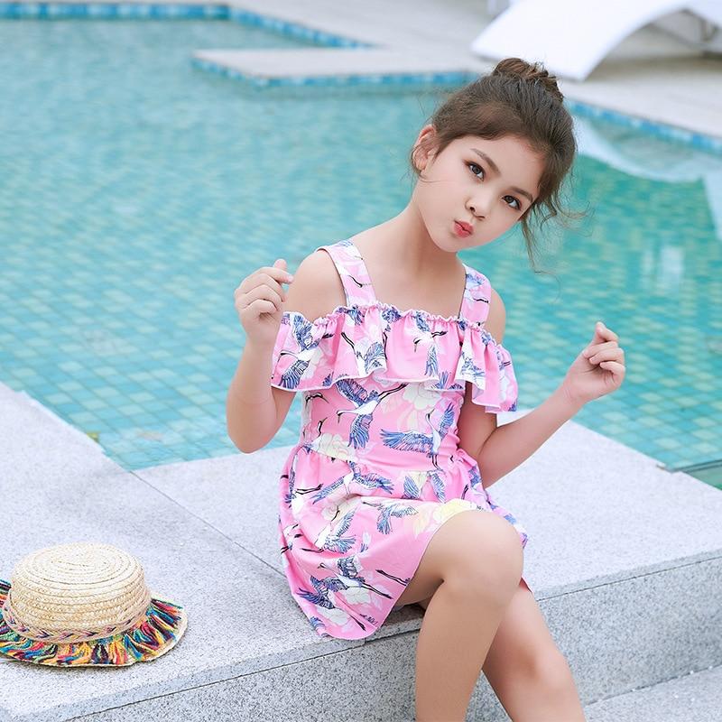 KID'S Swimwear Girls Dress-Swimwear Cute Fashion Off-Shoulder New Style South Korea Big Boy Hot Springs Swimwear