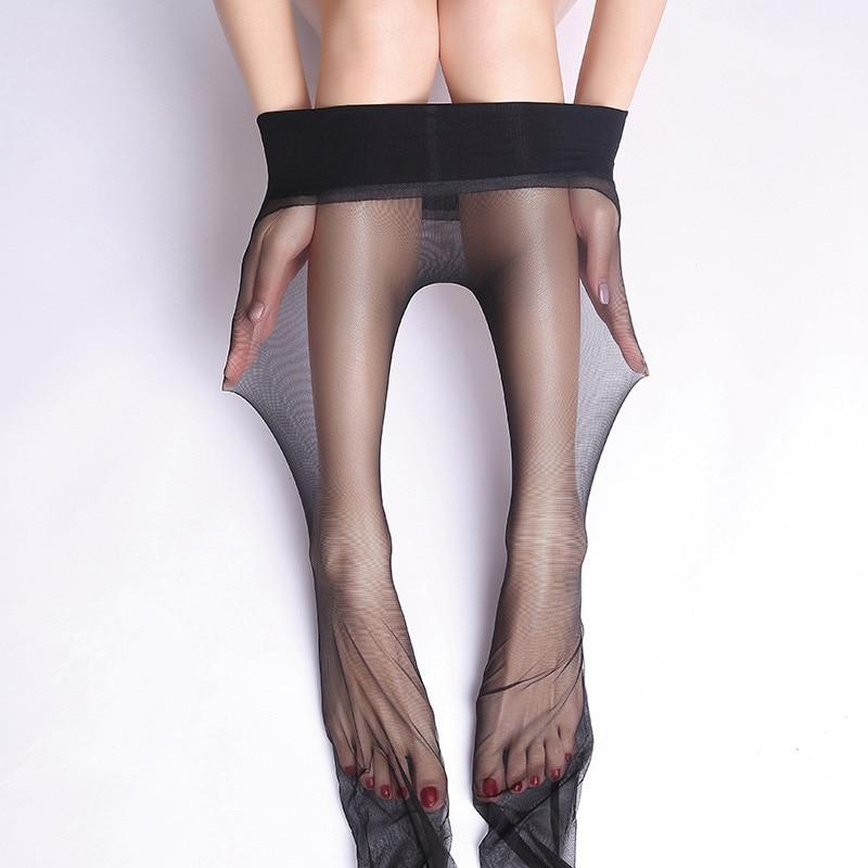 Пикантные женские прозрачные бесшовные колготки нейлоновые эластичные акриловые колготки Прозрачные ультратонкие чулки